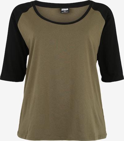 Urban Classics Shirt 'Contrast Raglan Tee' in de kleur Olijfgroen / Zwart, Productweergave