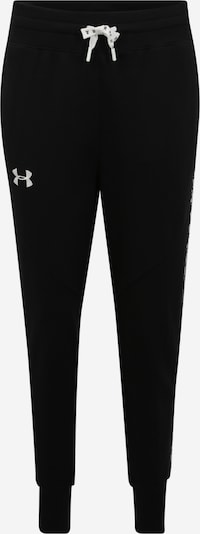 UNDER ARMOUR Sportbroek 'FLEECE PANT TAPED' in de kleur Zwart / Wit, Productweergave