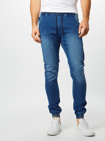 Urban Classics Jeans 'Knitted Denim Jogpants' in blau, Modelansicht