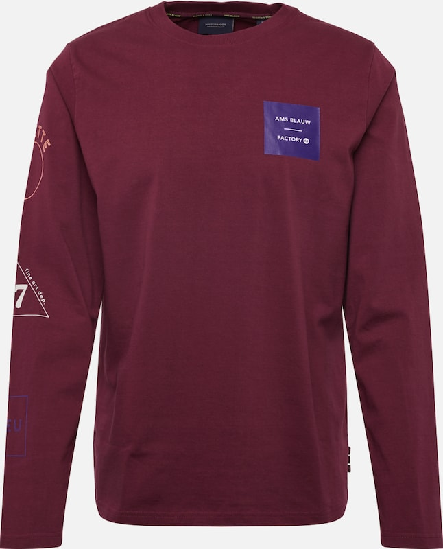 SCOTCH & SODA Pullover 'Long sleeve tee with placed artworks' in rot: Frontalansicht