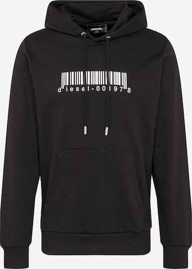 fekete / fehér DIESEL Tréning póló 'S-Girk-Hood-X2': Elölnézet