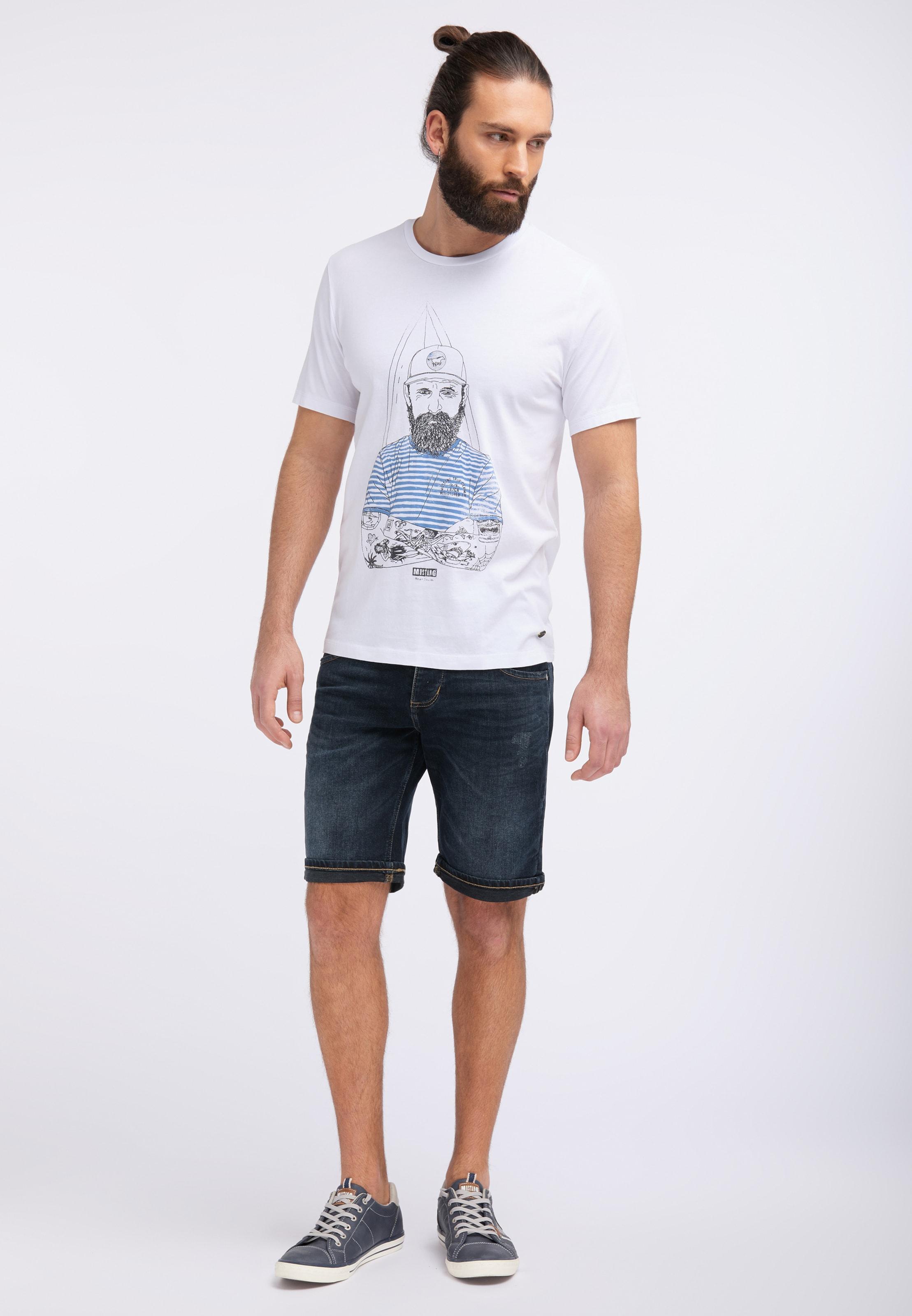 shirt HimmelblauSchwarz In T Weiß Tee' 'illustration Mustang nk0OP8w