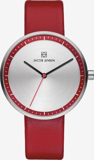 JACOB JENSEN Damenuhr 'Strata' in rot / silber, Produktansicht