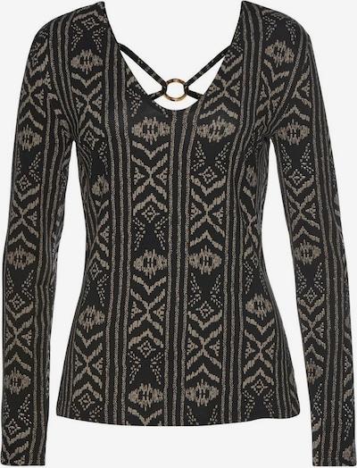LASCANA Koszulka w kolorze beżowy / czarnym: Widok z przodu