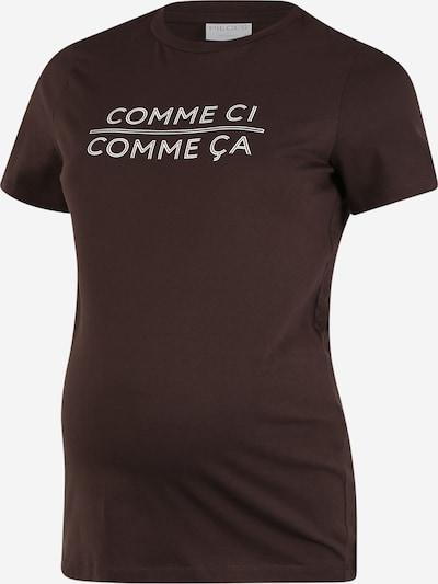 Pieces Maternity T-shirt 'Anicca' en brun foncé / blanc, Vue avec produit