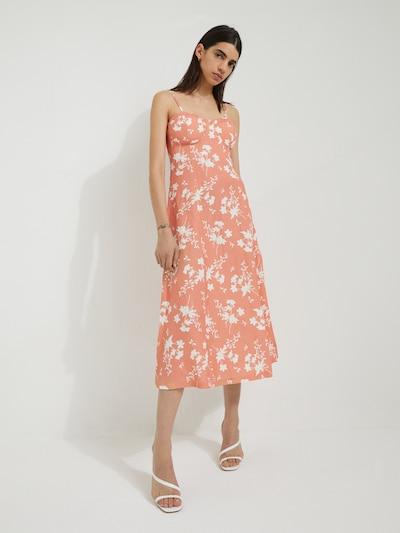 EDITED Kleid  'Yumiko' in hellorange / weiß, Modelansicht