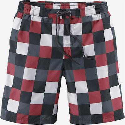 BUFFALO Badeshorts in grau / dunkelgrau / rot / weiß, Produktansicht