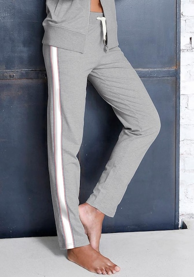 HIS JEANS Relaxpants in marine / graumeliert / cranberry / weiß, Modelansicht