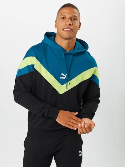 PUMA Sweatshirt in himmelblau / neongelb / schwarz: Frontalansicht