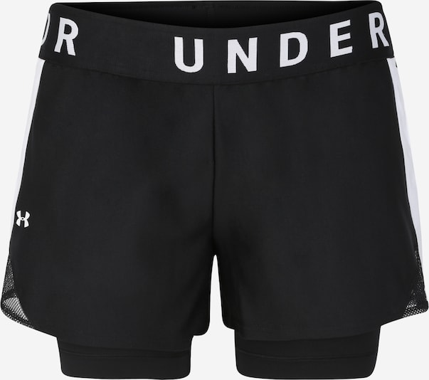 Pantaloni sport 'Play Up 2-in-1 Shorts' UNDER ARMOUR pe negru / alb, Vizualizare produs
