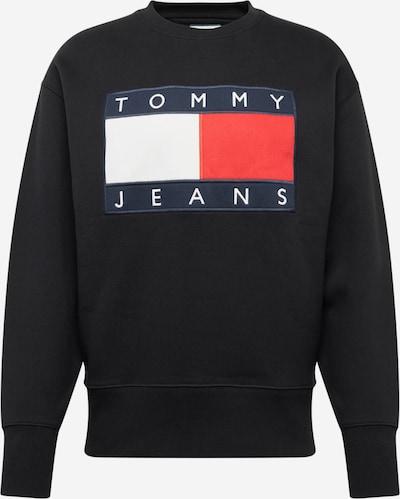 Tommy Jeans Sweatshirt 'TJM TOMMY FLAG CREW' in rot / schwarz / weiß: Frontalansicht
