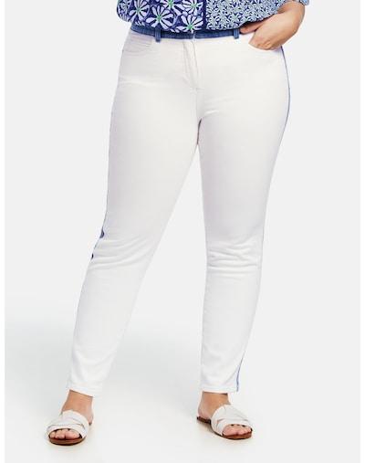 SAMOON Hose Freizeit verkürzt Betty Jeans mit Kontrast-Details in weiß, Modelansicht