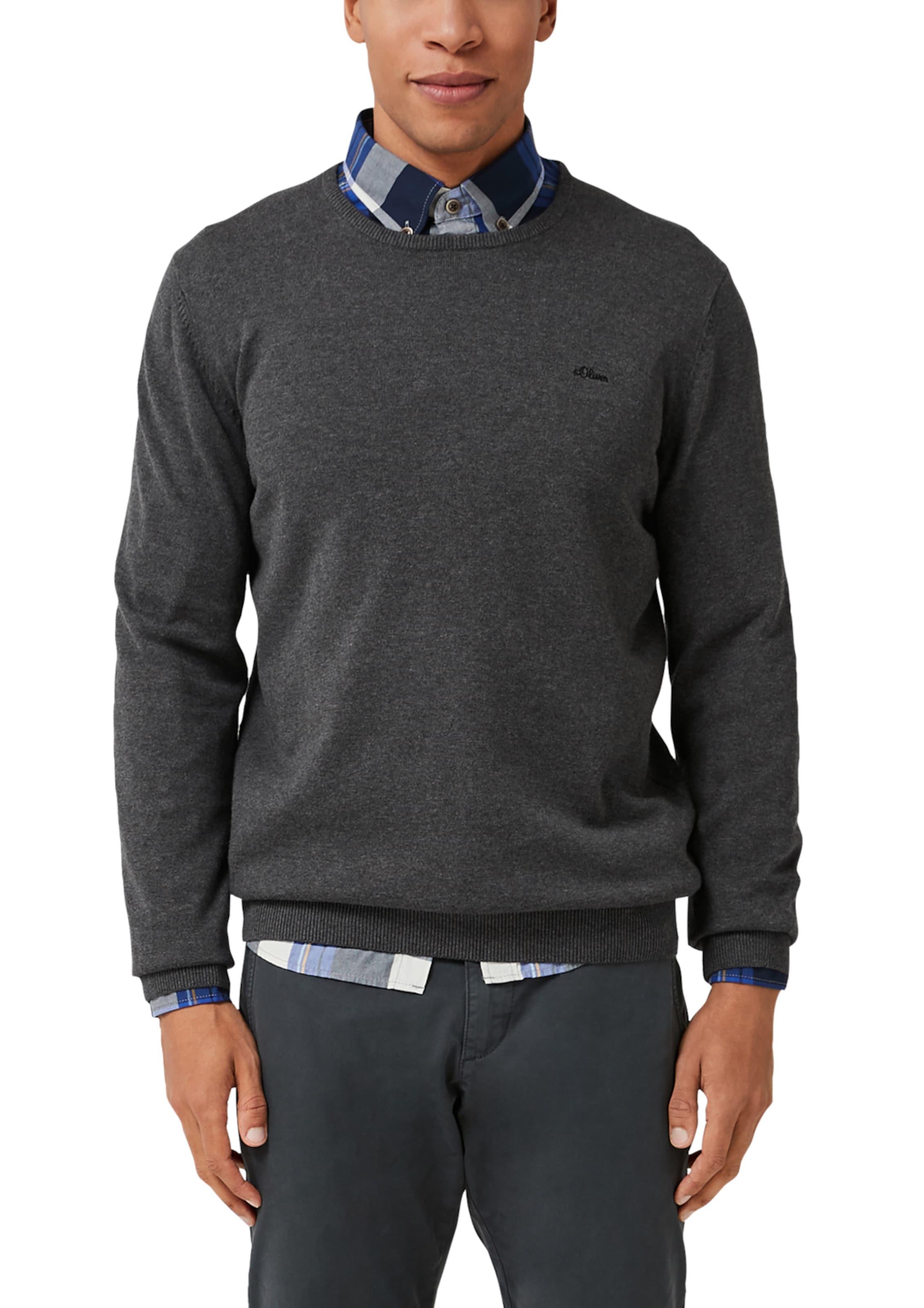 Neck S oliver Pullover In Crew Label Red Mit Schwarzmeliert cL354RAjq