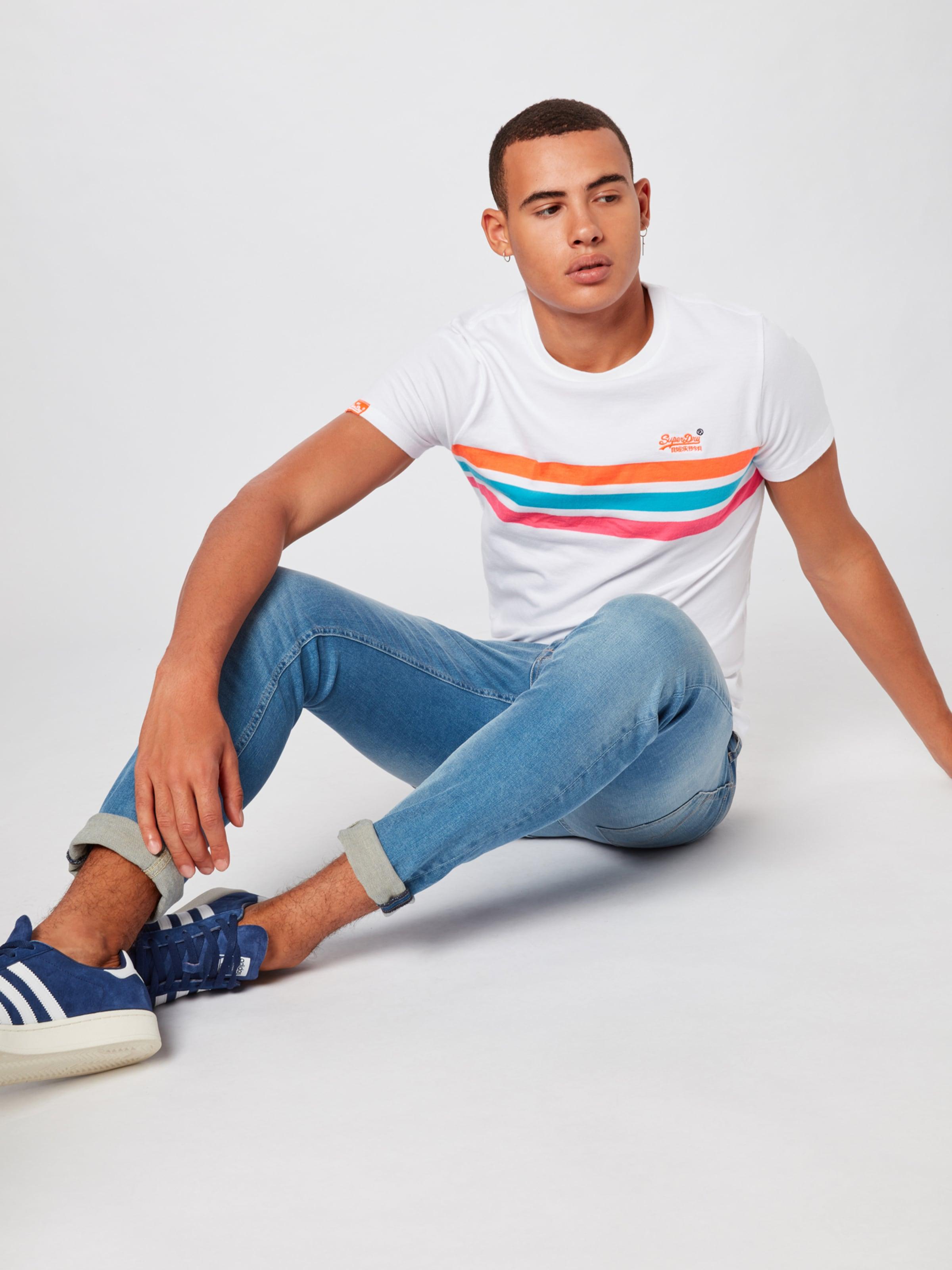 En T Blanc Chestband' shirt Fluro BleuRouge Label Superdry 'orange 0w8XnOPk
