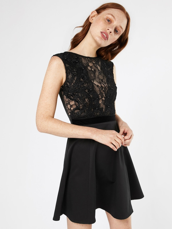 Lipsy Kleid 'BLACK FAUX PEARL LACE TOP PROM'