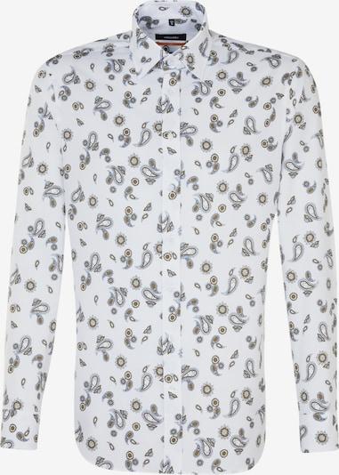 SEIDENSTICKER Zakelijk overhemd in de kleur Marine / Citroengeel / Wit: Vooraanzicht