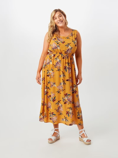 ONLY Carmakoma Kleid in goldgelb / mischfarben, Modelansicht