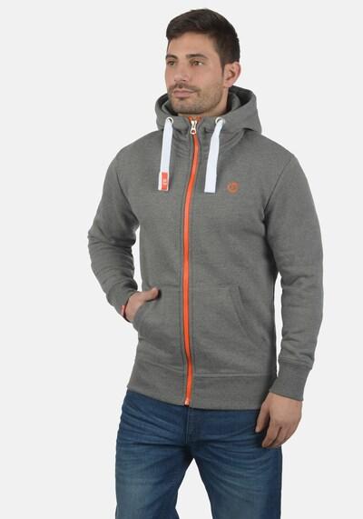 !Solid Kapuzensweatjacke 'Benn High-Neck' in grau / orange / weiß, Produktansicht