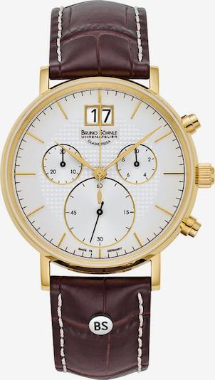 Bruno Söhnle Uhr in dunkelbraun / gold / weiß, Produktansicht