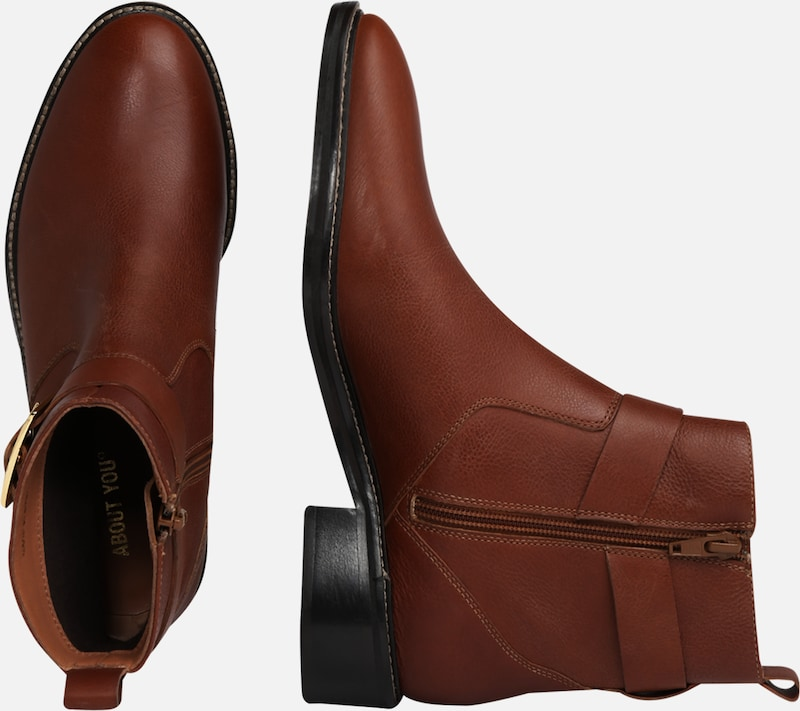 ABOUT YOU Stiefeletten 'Tiana Shoe' in cognac: Seitenansicht