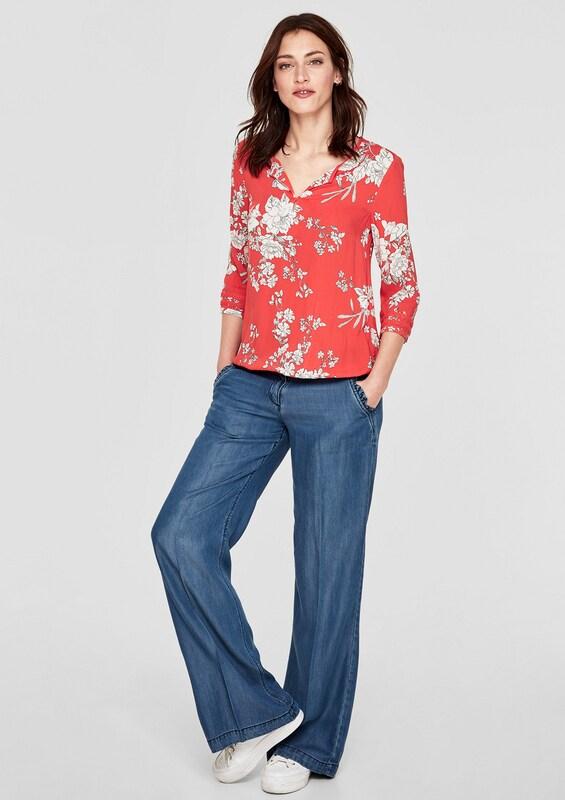 S.oliver Étiquette Rouge O-forme-bluse Mit Floralem Imprimer