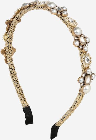 We Are Flowergirls Haarreifen 'Golden Pearls' in gold / weiß, Produktansicht