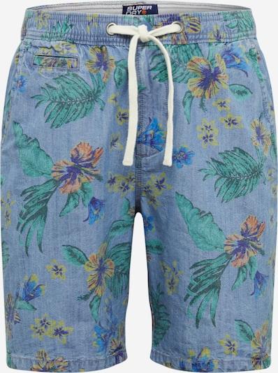 Superdry Pantalon chino 'SUNSCORCHED' en bleu denim / jaune / violet, Vue avec produit