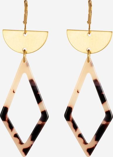 Fräulein Wunder Boucles d'oreilles 'Agneta' en crème / or / noir, Vue avec produit