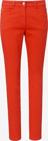 Basler Jeans in Coloured Denim mit Blätter-Stickerei in rot: Frontalansicht