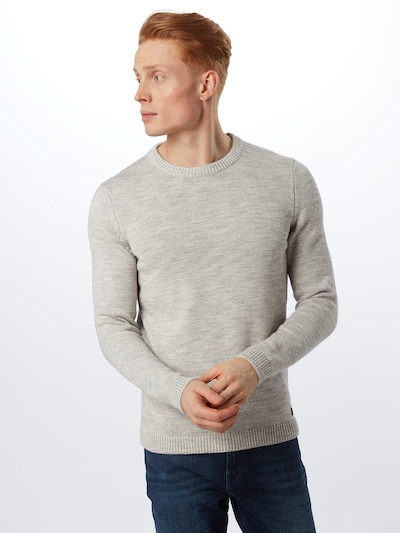 TOM TAILOR DENIM Pullover 'Injected' in grau: Frontalansicht