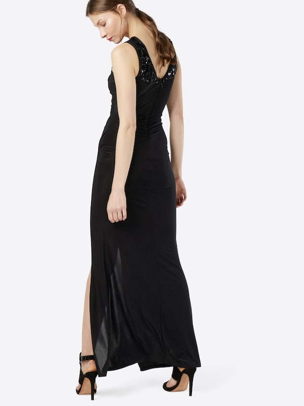 Lipsy Abendkleid 'BLACK LACE SEQUIN EMBROIDERED INSERT'