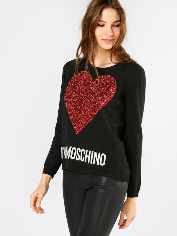love moschino pullover mit herz flockprint in rot about you. Black Bedroom Furniture Sets. Home Design Ideas