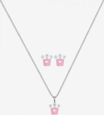 ELLI Schmuckset 'Krone' in rosa / silber, Produktansicht