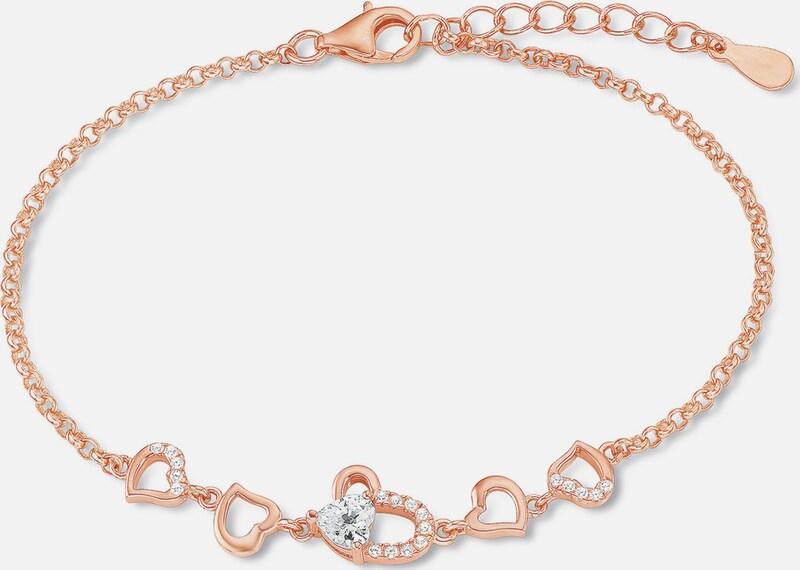 AMOR Armband mit Zirkonia, »Herzen, E106/4, 538787«