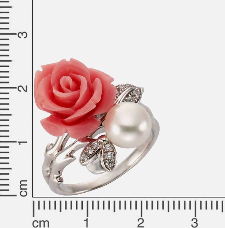 FIRETTI Ring »Rose« mit Zirkonia und Süßwasserzuchtperle