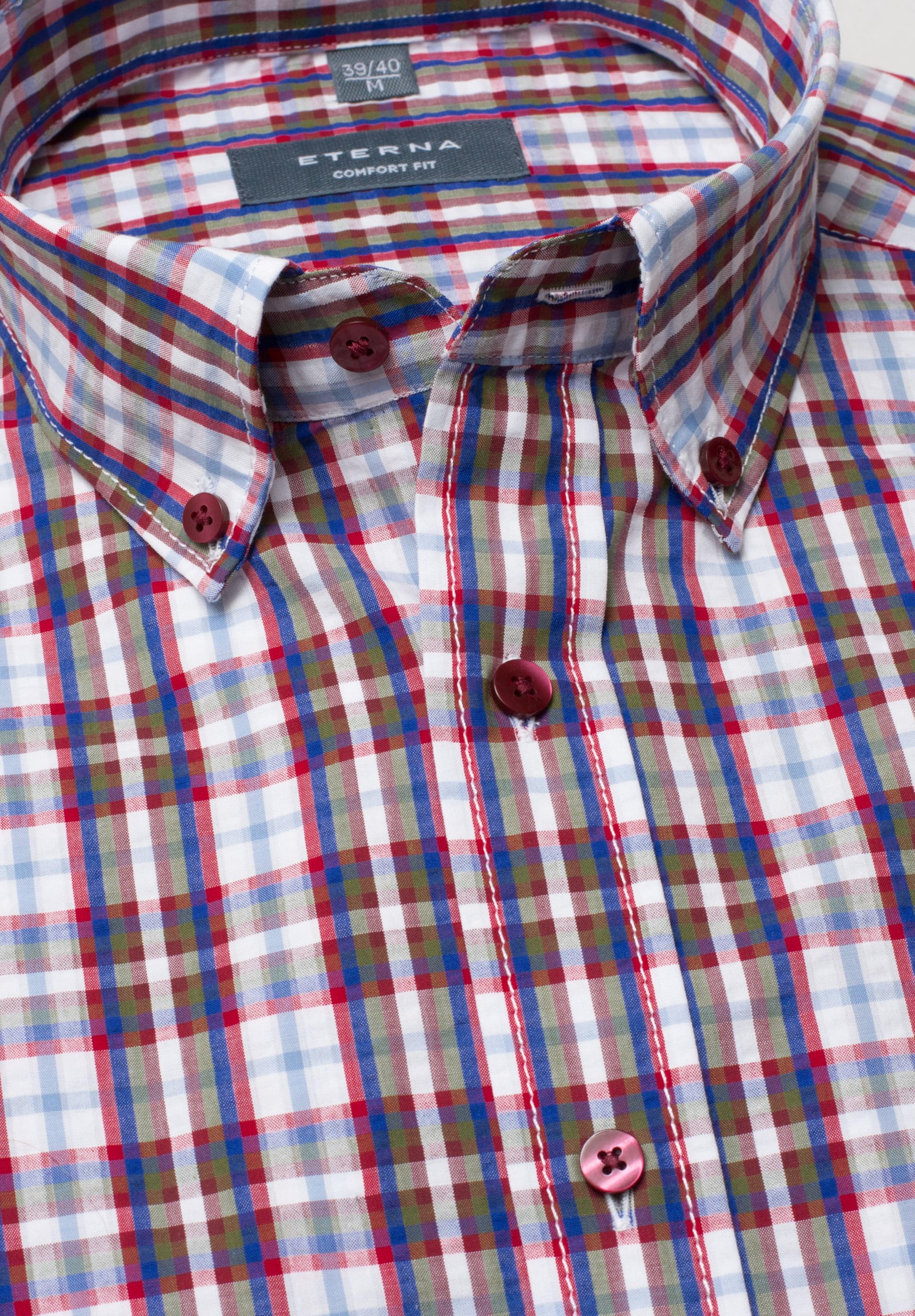In Kurzarmhemd Weiß Eterna Kurzarmhemd In BlauRot Eterna N0m8vwOn