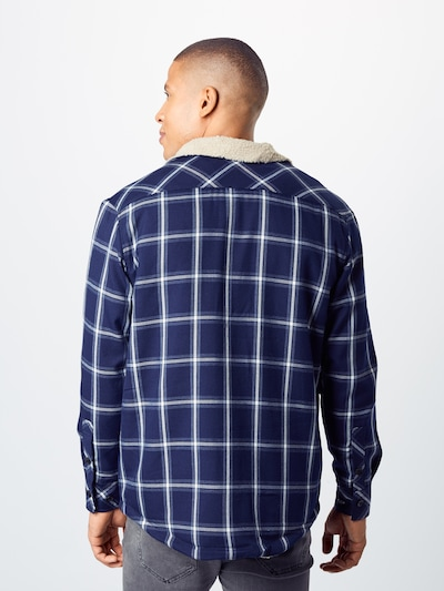 Geacă de primăvară-toamnă 'Sherpa Lined Shirt Jacket' Urban Classics pe navy / alb: Privire spate