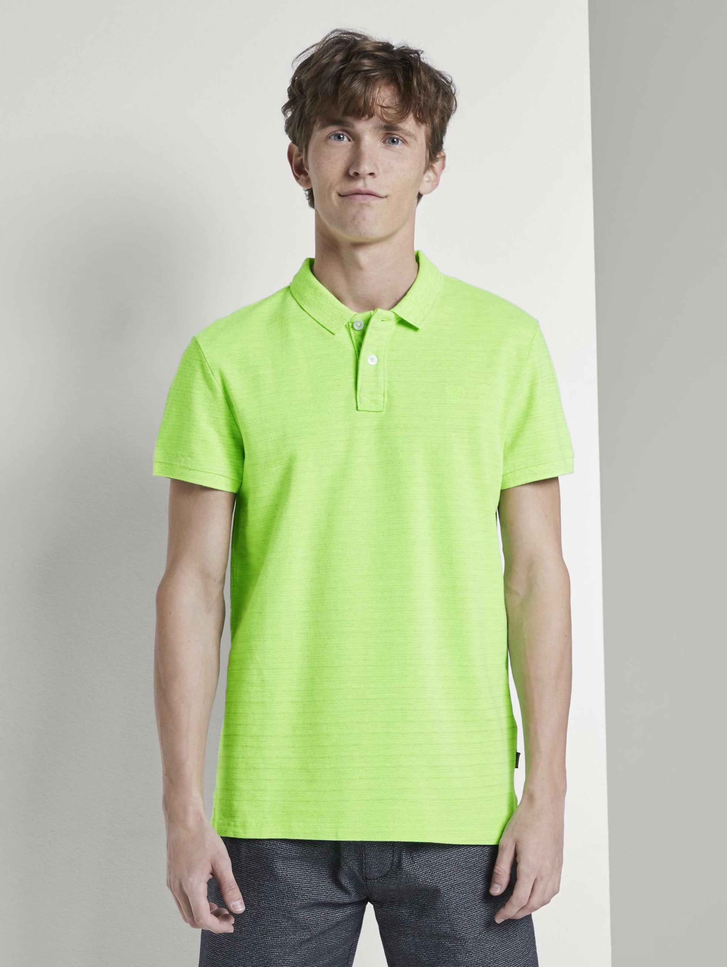 TOM TAILOR DENIM Poloshirts Poloshirt in Melange-Optik mit Stickerei in neongrün Unifarben 1018754028