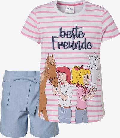 Bibi und Tina Set in taubenblau / mischfarben / rosa / weiß, Produktansicht