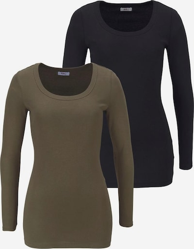 FLASHLIGHTS Langarmshirt 2er Pack in khaki / schwarz, Produktansicht