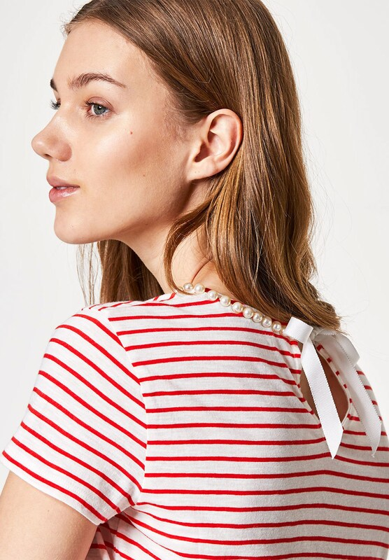 Huber Hall T-shirt With Pearls And Clipping Rips-loop