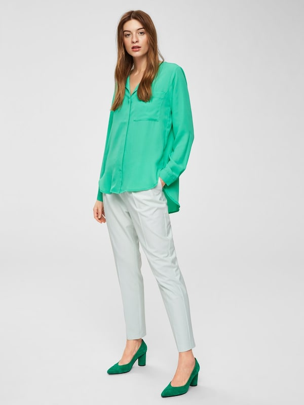 SELECTED FEMME Feines Langarmhemd in grün    Neue Kleidung in dieser Saison ec7bf6