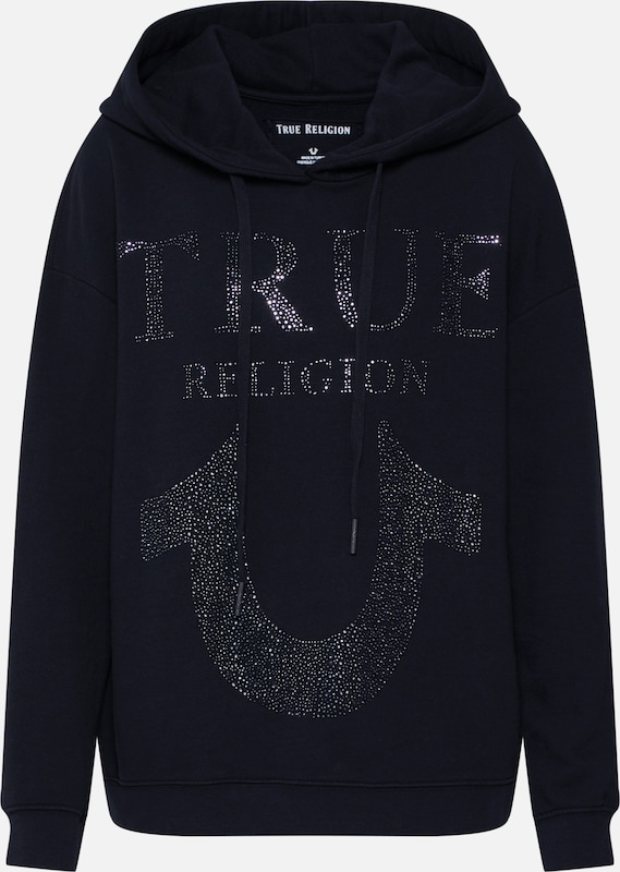 True Religion Sweatshirt 'CHRYSTAL HORSESHOE' in schwarz, Produktansicht