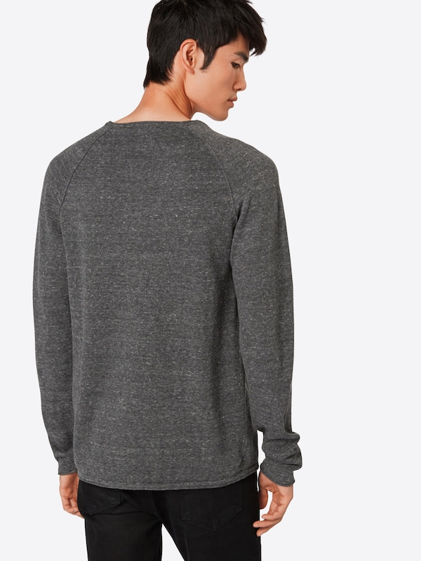 JACK & JONES Pullover 'JJEUNION KNIT CREW NECK' in graumeliert: Rückansicht
