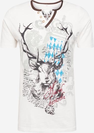 MARJO T-krekls ar tradicionālo rakstu jauktu krāsu / balts, Preces skats