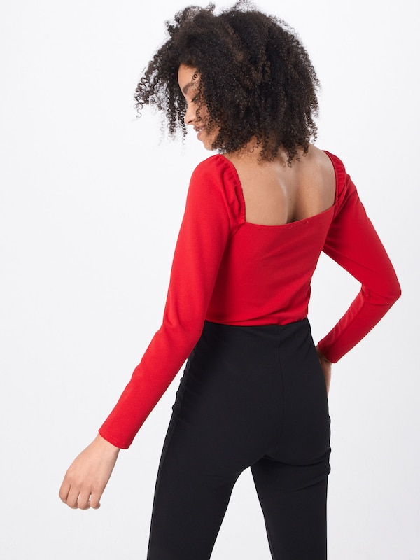 Missguided Shirt 'MILKMAID LONG SLEEVE FRILL EDGE TIE FRONT CUPPED BODYSUIT' in rot: Rückansicht