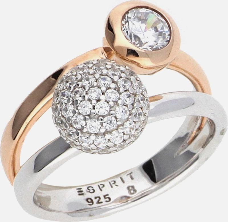 ESPRIT Damen Fingerring Silber-Rosegold Double Embrace