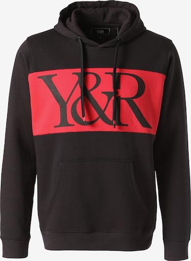 Young & Reckless Kapuzenpullover 'Hybrid' in rot / schwarz, Produktansicht