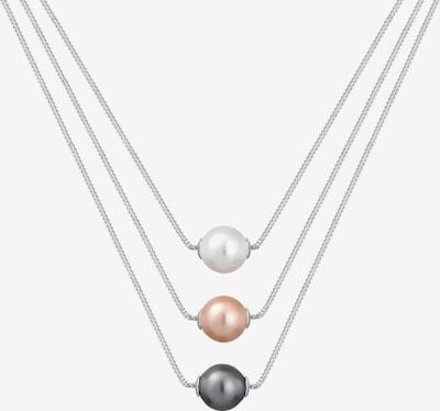 ELLI Halskette 'Layer' in altrosa / schwarz / silber / weiß, Produktansicht