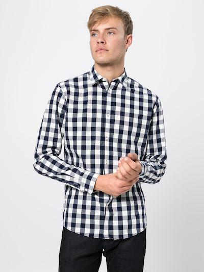 JACK & JONES Overhemd 'JJEGINGHAM SHIRT L/S' in de kleur Nachtblauw / Wit, Modelweergave